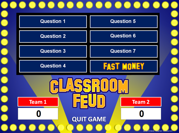 "... ""Family Feud"" style review games with this PowerPoint Template"