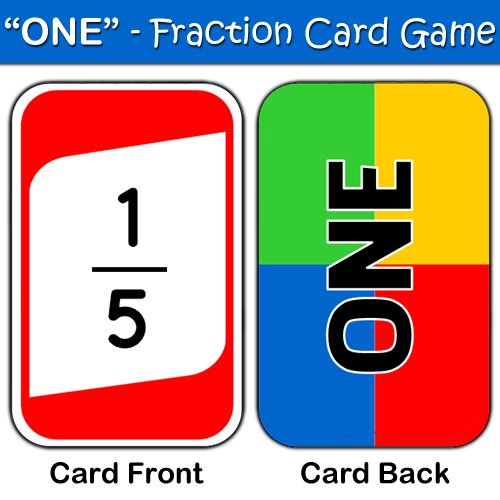 "ONE"" is an ""UNO"" style fraction game for teachers"